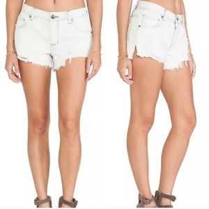 Free People Distressed Cut Off Shorts White Button